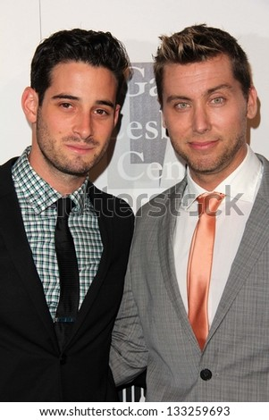Michael Turchin, Lance Bass at the L.A. Gay And Lesbian Center Hosts 'An Evening' honoring Amy Pascal and Ralph Ricci, Beverly Wilshire, Beverly Hills, CA 03-21-13 - stock photo