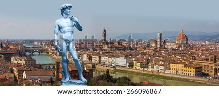Michelagelo's David and Panoramic view over Florence, Italy with Duomo and Palazzo Vecchio - stock photo