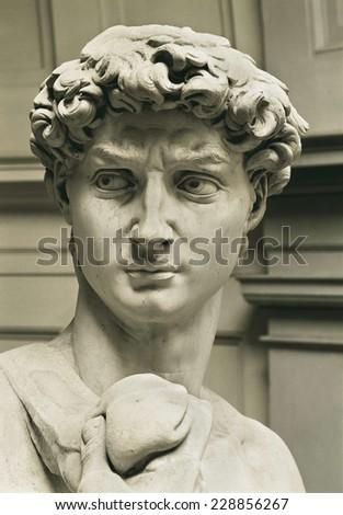 Michelangelo (1475-1564), David, 1501-1504, Detail, Renaissance art, Cinquecento, Sculpture on marble - stock photo