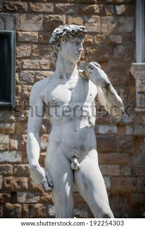 Michelangelo's David in Florence, Piazza Signoria - stock photo