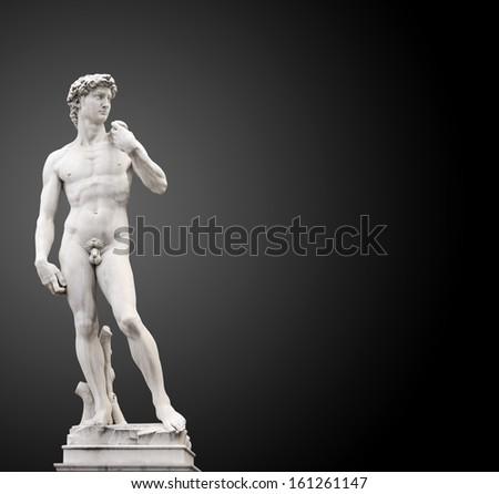 Michelangelo's David. On black background - stock photo