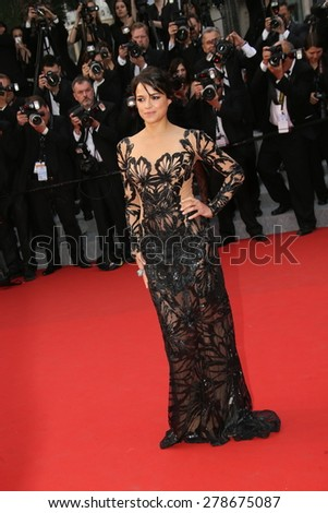 Michelle Rodriguez attends the 'Mad Max : Fury Road' Premiere during the 68th annual Cannes Film Festival on May 14, 2015 in Cannes, France. - stock photo