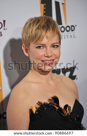 Michelle Williams at the 15th Annual Hollywood Film Awards Gala at the Beverly Hilton Hotel. October 24, 2011  Beverly Hills, CA Picture: Paul Smith / Featureflash - stock photo