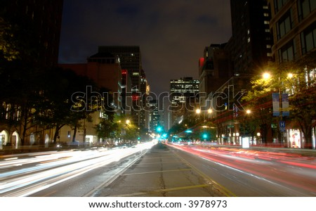 Michigan Ave in downtown Chicago at night. - stock photo
