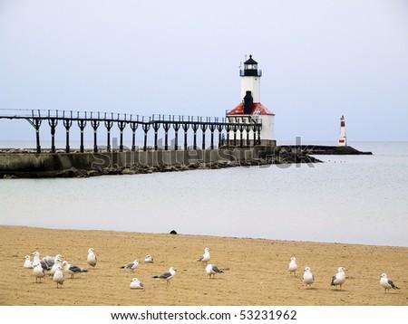 Michigan City East Pierhead Lighthouse, Indiana - stock photo