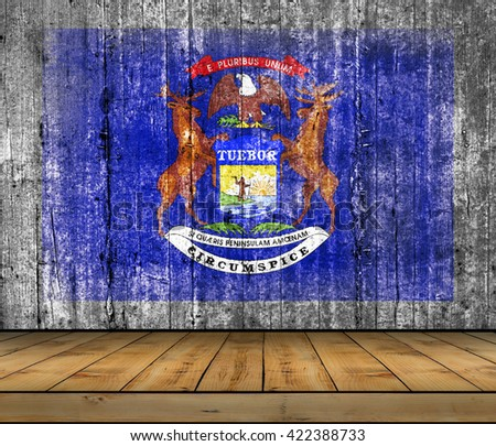 Michigan concrete flag with wooden floor - stock photo
