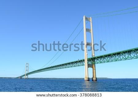 Michigan's Mackinac Bridge on a Sunny Summer Day - stock photo