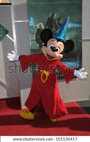 "Mickey Mouse at the  ""The Sorcerer's Apprentice"" Film Premiere, Walt Disney Studios, Burbank, CA 07-12-10 - stock photo"