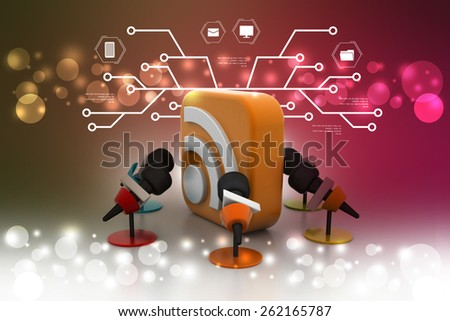 Micro phone with rss sign - stock photo