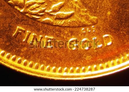 Micro Photo of a Gold Coin - stock photo