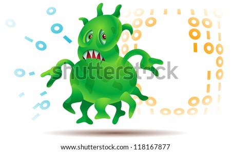 Microbial attack or maybe a computer virus damaging information - stock photo