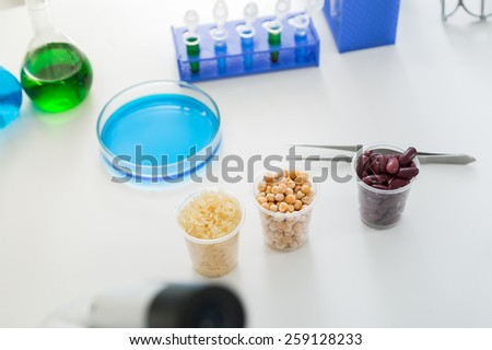 Microbiological Testing for Food Quality.Corn subject to selection in Microbiological laboratory. - stock photo