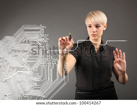 Microchip concept - engineers and blueprint - stock photo