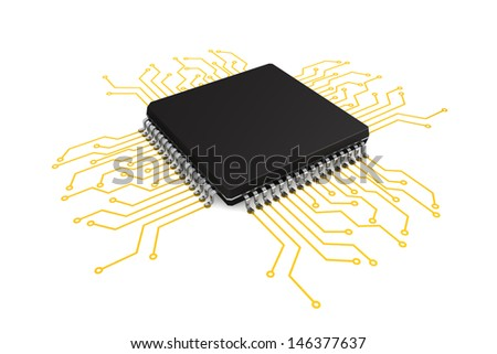 Microchip with circuit on a white background - stock photo
