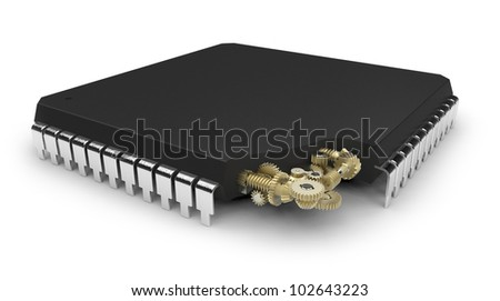 Microchip with mechanical gears inside - stock photo
