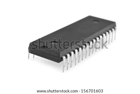 microcircuit on a white background - stock photo