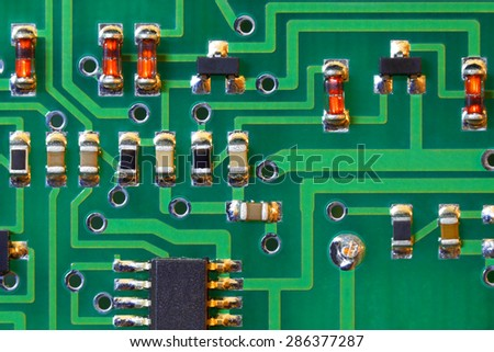 Microelectronic scheme. Computer technologies. - stock photo