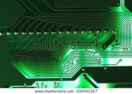 Microelectronics computer chip background - stock photo