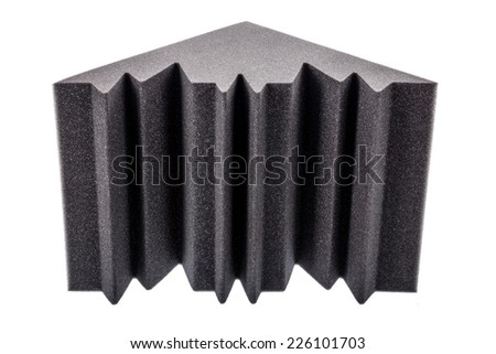microfiber foam insulation for noise in the corners of the music studio or acoustic halls, rooms or houses - stock photo