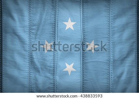 Micronesia flag pattern on synthetic leather texture, 3D illustration style - stock photo