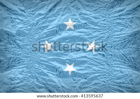 Micronesia flag pattern overlay on floyd of candy shell, vintage border style - stock photo