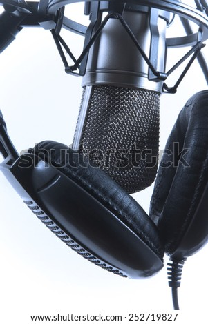 microphone and headphones ready to use - stock photo