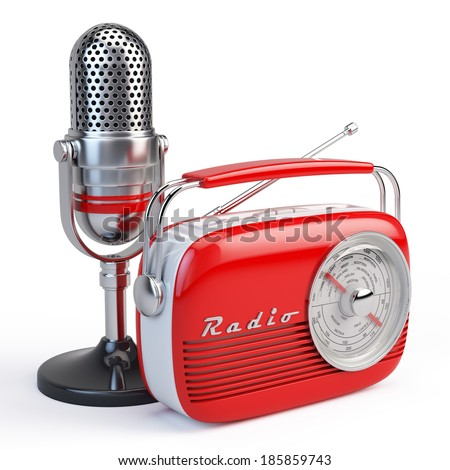 Microphone and retro radio - stock photo