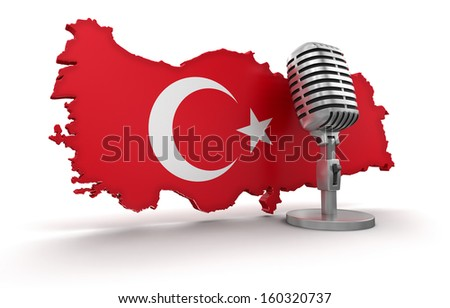 Microphone and Turkey (clipping path included) - stock photo