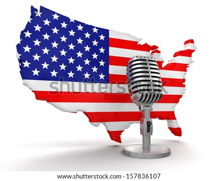 Microphone and USA (clipping path included) - stock photo