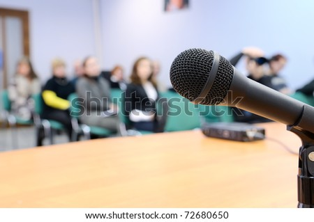 Microphone at conference. - stock photo