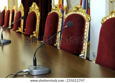 Microphone at meeting room  - stock photo