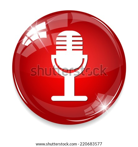 Microphone button - stock photo