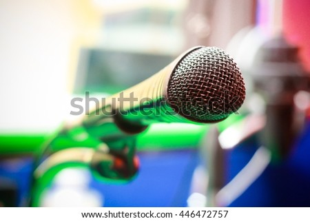Microphone for sound, music, karaoke in audio studio or stage. Mic technology. Voice,. Speech broadcast equipment. Live pop, rock musical performance on studio recording background. - stock photo