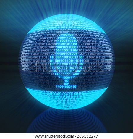 Microphone icon on globe formed by binary code, 3d render - stock photo