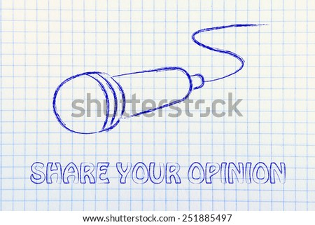 microphone illustration, metaphor of sharing and spreading your opinion  - stock photo