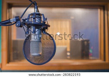 Microphone in a music  studio  - stock photo