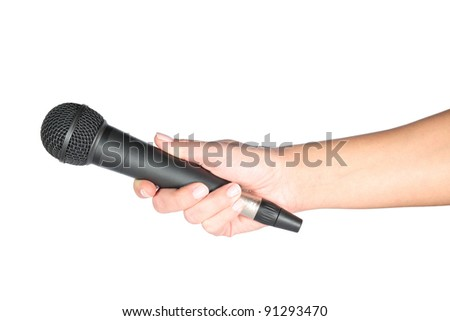 microphone in hand - stock photo