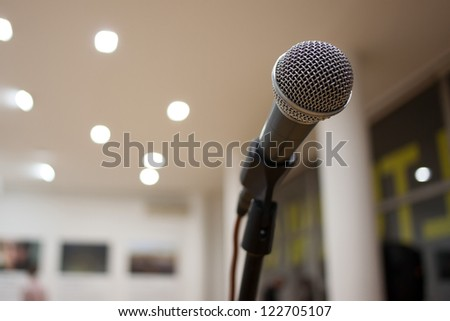 microphone in room - stock photo