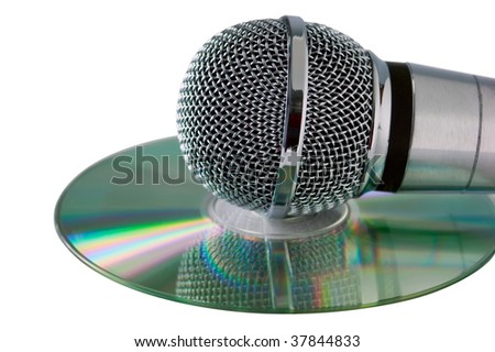 microphone is on compact disc isolated on white - stock photo