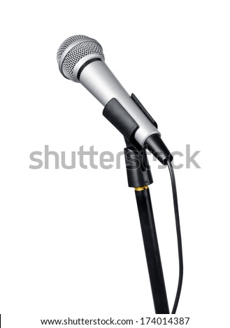 Microphone, isolated on white - stock photo