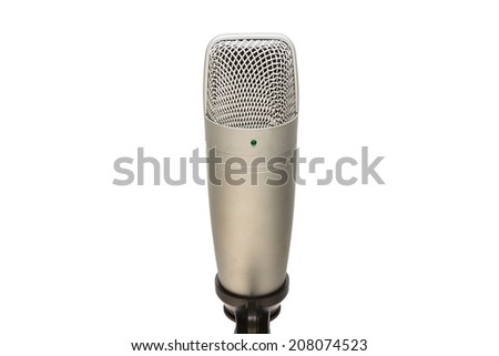 microphone isolated on white background from front view - stock photo