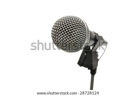 Microphone on a stand isolated on white background - stock photo