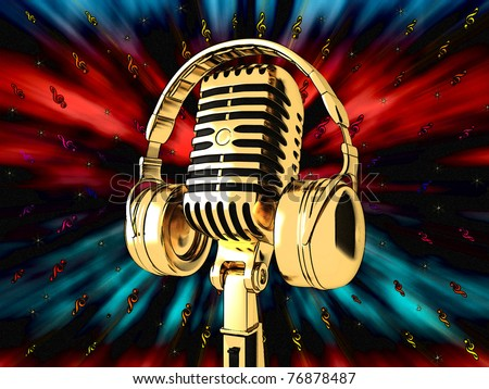 Microphone on colorful musical background - stock photo