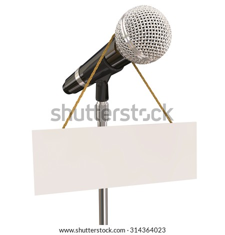Microphone on stand with sign and blank copyspace for your own words or message to illustrate open mic night, karaoke competition or stand-up comedy or singing - stock photo