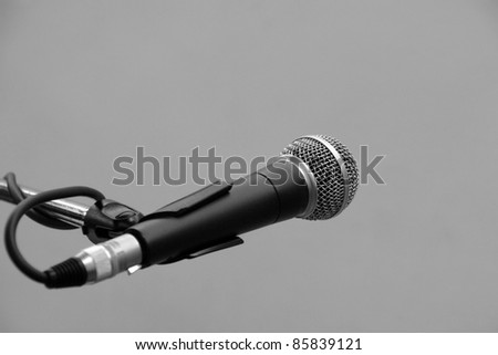 Microphone on the stand in stage - stock photo