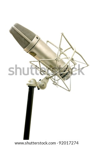 Microphone on white background, Music tool concept - stock photo