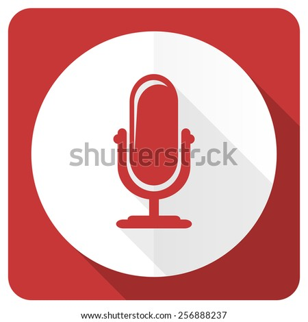 microphone red flat icon podcast sign  - stock photo