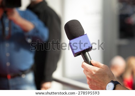 Microphone. Television interview. - stock photo
