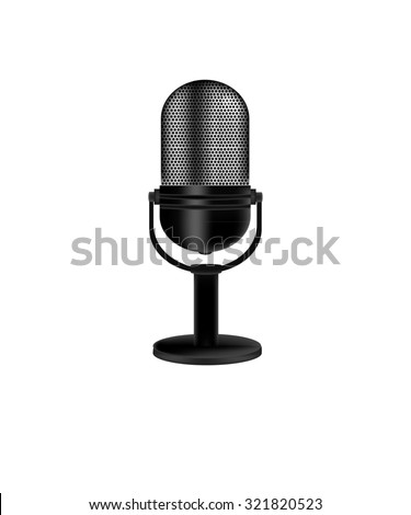 Microphone,  vintage microphone,  old microphone,  retro microphone isolate - stock photo
