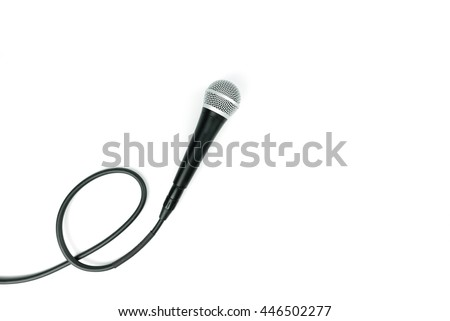 Microphone with cable isolated on white background - stock photo